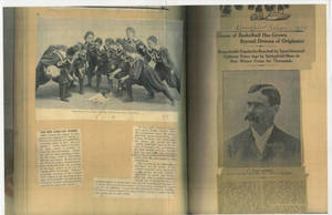 Copies of scrapbook pages on early women's basketball, the creation of Basketball, and Dr. James Naismith, ca. 1892-1936