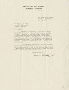 Letter from Amos Alonzo Stagg to William Ball (May 24th, 1937)