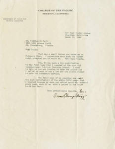 Letter from Amos Alonzo Stagg to William Ball (March 22nd, 1940)