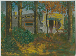 East Campus painting by Dr. Charles F. Weckwerth (October, 1930)