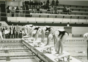 Before the start of a swimming race