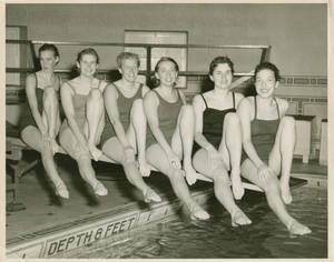 Members of the Springfield College Women's Swimming team