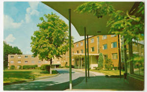 A postcard showing Abbey-Appleton and Lakeside Halls