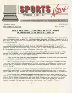 News Release on the Soviet Union vs. Springfield College basketball game, November 8, 1991
