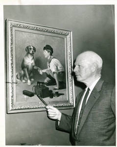 Arthur G. Jeffrey with painting of Dog and Boy