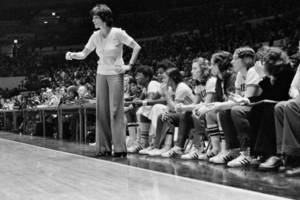 Lucille Kyvallos on the sideline during a game