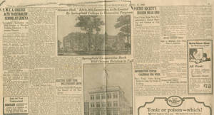 """""""Alumni Hall, $350,000 Dormitory to be Erected by Springfield College"""" Springfield Sunday Union and Republican (April 11, 1926)"""