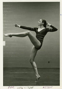 Joan Carey performing her floor exercise, 1981