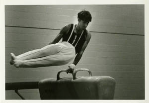 Jeff Wolcott performing on the pommel horse