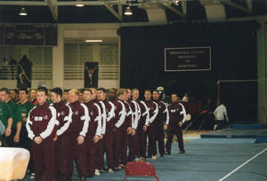 Springfield College men's gymnastics team lined up at meet