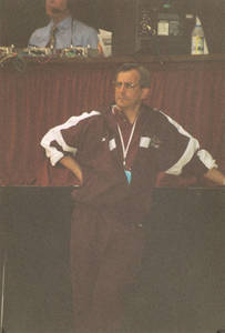 Springfield College men's gymnastics coach Stephen E. Posner observing, ca. 2000