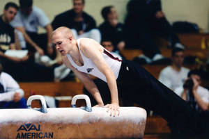 Springfield College gymnast on pommel horse at USGF Championship (April, 2001)
