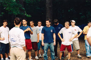Springfield College men's gymnastics team during Humanics in Action Day