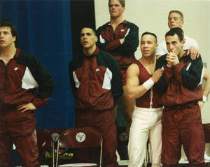 Springfield College men's gymnastics team watching meet