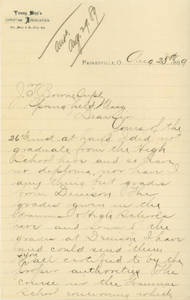 Letter from Willard S. Richardson to Jacob T. Bowne (August 28, 1889)