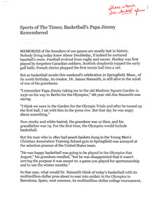 Sports of the Times, Basketball's papa Jimmy remembered (December 19, 1991)