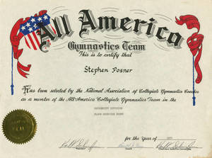 Stephen E. Posner 1974 All America Gymnastics Team certificate