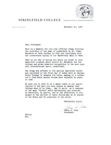 Basketball centennial stamp first day issue and cover letter from Dr. Glenn Olds to his colleagues at Springfield College