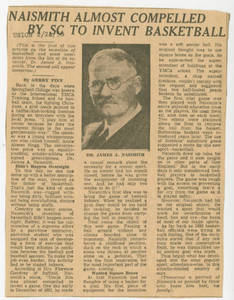 Naismith almost compelled by SC to invent basketball (February 24, 1956)