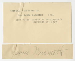 Dr. James A. Naismith autograph