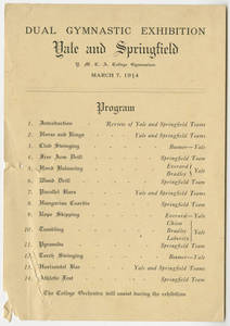 Yale and Springfield Dual Gymnastic Exhibition program (March 7, 1914)