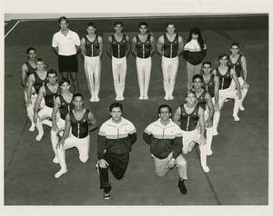 1992-1993 Springfield College men's gymnastics team group portrait