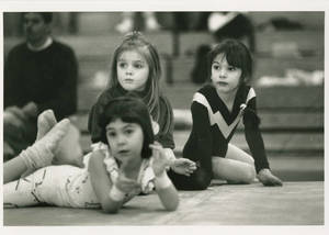 1991-1992 Springfield College gymnastics three young onlookers