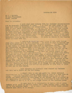 Dr. Laurence L. Doggett to Dr. James H. McCurdy (October 23, 1918)