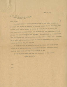 Letter to Thomas D. Patton from Springfield College (May 18, 1911)