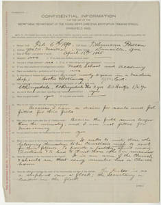 Application for Springfield College for Thomas D. Patton (Feb. 6, 1890)