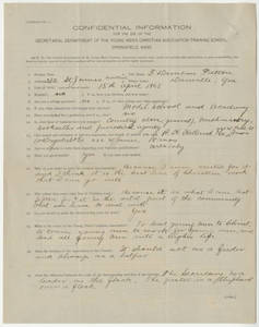 Application for Springfield College for Thomas D. Patton (undated)