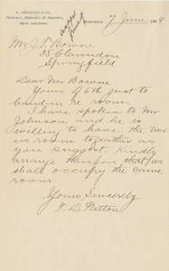Letter from Thomas D. Patton to Jacob T. Bowne (June 7, 1888)
