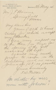 Letter from Thomas D. Patton to Jacob T. Bowne (May 26, 1888)