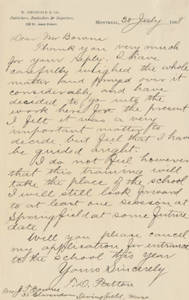 Letter from Thomas D. Patton to Jacob T. Bowne (July 20, 1888)