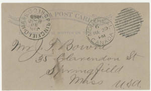 Postcard from Thomas D. Patton to Jacob T. Bowne (June 29, 1888)