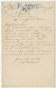 Letter from Thomas D. Patton to Jacob T. Bowne (May 7, 1888)