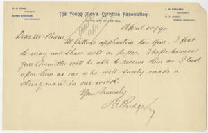 Letter from D. A. Budge to Jacob T. Bowne (April 10, 1890)