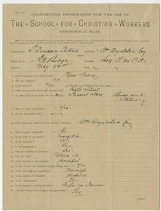 Recommendation form for Thomas D. Patton (undated)