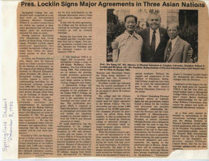Pres. Locklin Signs Major Agreements in Three Asian Nations (December 8, 1983)