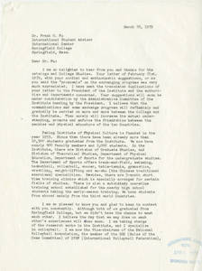 Letter from Ma Qiwei to Frank Fu (March 26, 1979)