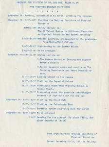Itinerary for Dr. Frank Fu's visit to Beijing (December 1979)