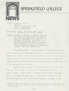 News Release about 1984 Springfield College Commencement (April 30, 1984)