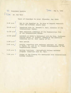 Schedule for visit of President Ma Qiwei (May 10, 1984)