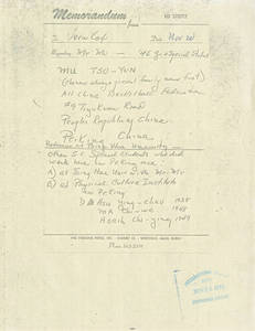 A memo and attachments to Vernon Cox from Edward Steitz about Mou Zuoyun (Nov. 20, 1978)