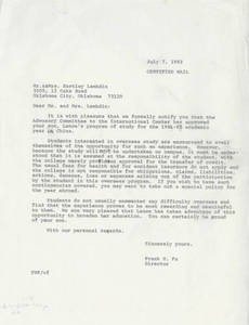 A letter from Frank Fu to Mr. & Mrs. Lambdin (July 7, 1982)