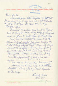 A letter from Zhou Yixian to Dr. Frank Fu, ca. November 11, 1981
