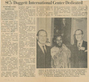 SC's Doggett International Center Dedicated (November 18, 1972)