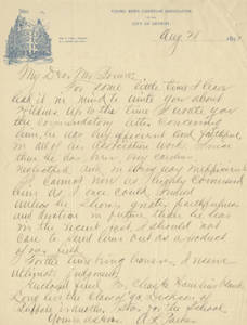 Letter from Anson L. Parker to Jacob T. Bowne (August 28, 1891)