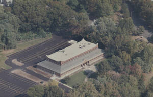 Aerial photograph of the Allied Health Services Building (ca. 1988)