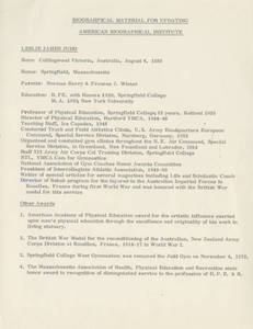Leslie Judd biographical information for updating the American Biographical Institute
